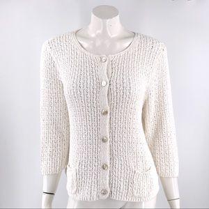 J Jill Cardigan Sweater Size XL White Linen Cotton